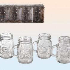 Set de 4 pahare borcan Shot Vintage