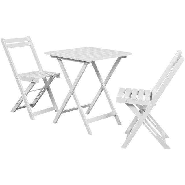 Set Bistro 3 piese, masa + 2 scaune din lemn de salcam, Alb foto mare