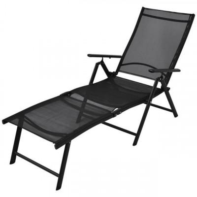 ?ezlong pliabil din aluminiu, 178 x 63,5 x 96 cm, negru foto