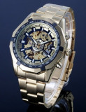 CEAS FULL AUTOMATIC WINNER TM340 TACHYMETER GOLD SKELETON-MODEL NOU-REDUCERE !, Casual, Mecanic-Automatic, Placat cu aur