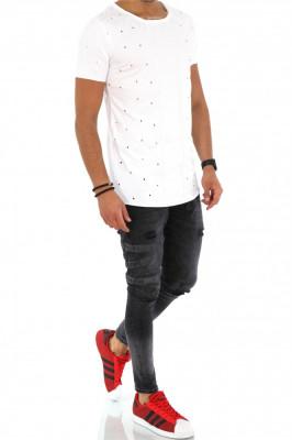 Tricou slim fit SUPREME alb -  tricou barbati - tricou fashion - A1489 N6-4 foto