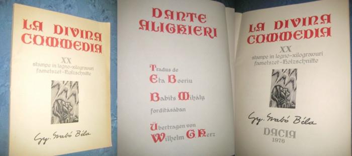 Gy. Svabo BELA-La Divina Comedie. Lucrare deo0sebita de arta cu xilogravuri foto mare