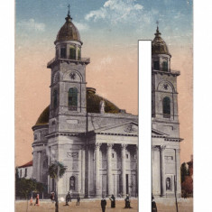 CP Satu Mare - Catedrala romano-catolica, 1917, circulata - Carte Postala Maramures 1904-1918, Fotografie