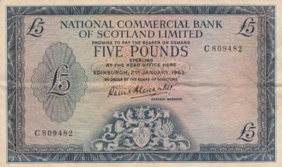 Scotia  5 Pounds  2.01.1963   NCBoS ltd  P.272a  VF   VF foto