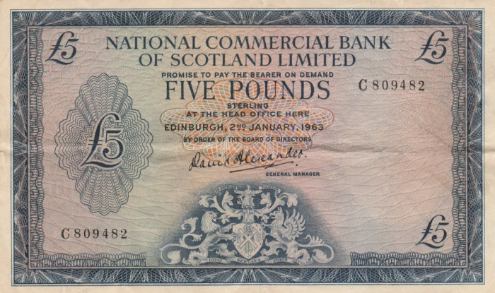 Scotia  5 Pounds  2.01.1963   NCBoS ltd  P.272a  VF   VF