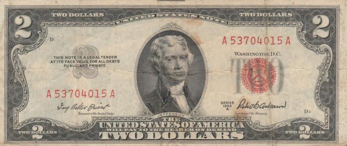Statele Unite  2 Dollars 1953 A P.380a.Fr.1510  VG-F foto mare