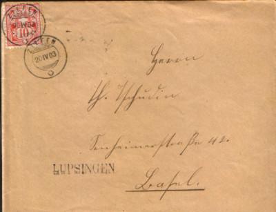Elvetia - Plic circulat in 1902  - Mi.54 - timbru cinabru 10 c,1882/1899 foto
