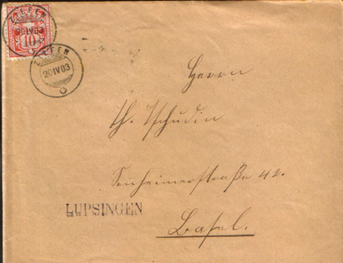 Elvetia - Plic circulat in 1902  - Mi.54 - timbru cinabru 10 c,1882/1899 foto mare