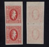 1865 CUZA IN OVAL 20 PARALE ROSU PERECHE CU EROARE VARIETATE  HEIMBUCHLER MNH, Nestampilat