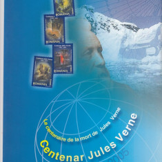 ROMANIA 2005  LP 1678  CENTENAR JULES VERNE 1905 - 2005  MAPA FILATELICA  MNH, Nestampilat