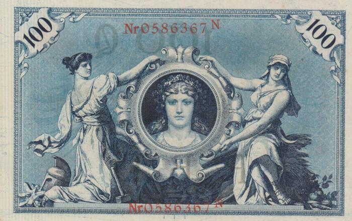 Germania  100 Mark 1908  P.33,  Ro.33b   UNC foto mare