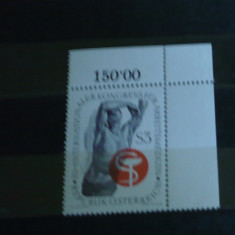 AUSTRIA 1966 – CONGRES MEDICINA, timbru nestampilat, AD34