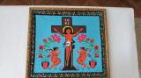 GOBLEN-arta populara-ISUS PE CRUCE-rama lemn gravata cu motive populare,vintage