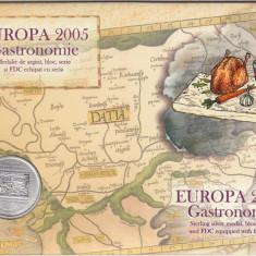 2005 LP 1683 EUROPA 2005 - GASTRONOMIE MAPA FILATELICA CU MEDALIE DE ARGINT - Timbre Romania, Nestampilat