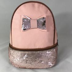 Rucsac roz cu paiete si fundita+CADOU