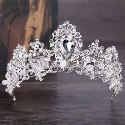 Diadema,tiara argintie cu cristale foto