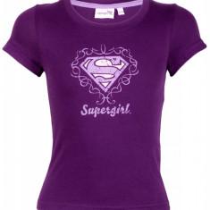 Tricou din bumbac Supergirl, pentru fetite, imprimeu cu logo, Mov, Textiles Vertrauen