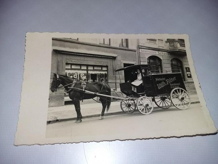 Fotografie veche,Trasura trasa de cal,Magazin CAFE,Trasura inscriptionata,T.GRAT foto mare