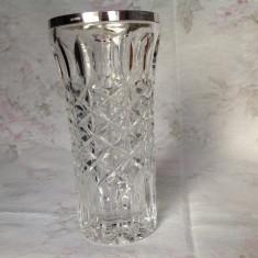 Vaza din cristal cu montura din argint 800, Emil Hermann, 1950