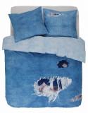 Lenjerie de pat Covers & Co Ripped Jeans 240x220cm 2 fete perna 60x70cm 144TC albastru