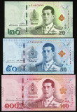 Bancnota Thailanda 20, 50 si 100 Bhat (2018) - PNew UNC ( set x3 - noul rege )