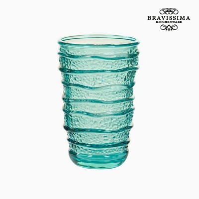 Pahar din Sticlă Reciclată Turquoise (8 x 8 x 13 cm) by Bravissima Kitchen foto