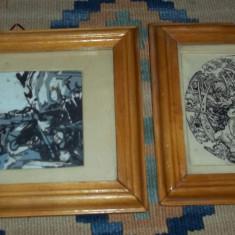 doua tablouri mici grafica si acuarela
