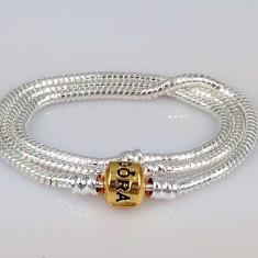 COLIER 45 CM Bratara dubla tripla model Pandora placat argint 925 + 2 talismane, Femei