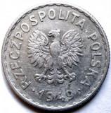 POLONIA , 1 ZLOT 1949 , WHITE EAGLE , UN SINGUR AN DE BATERE !!! DIAMETRU 25mm., Europa