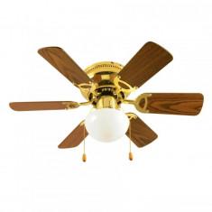 Ventilator de tavan cu lustra, E27, 50W, 3 viteze, 2 comutatoare, fixare tavan, maro