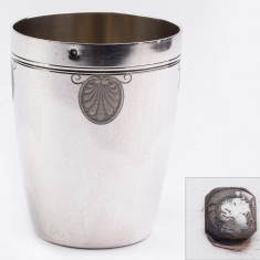 Pahar, cupa din argint masiv lucrat manual Franta, marcaj Minerva 1, Cana