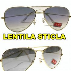 Ochelari de soare Ray Ban Lentila STICLA degrade, Culoare lentila: Albastru, Gri, Material rama: Metal, Unisex, Maro