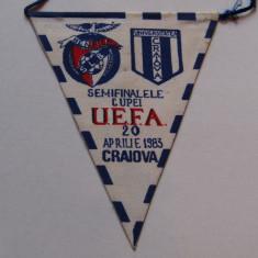 Fanion fotbal UNIVERSITATEA CRAIOVA - BENFICA LISABONA (UEFA 20.04.1983)