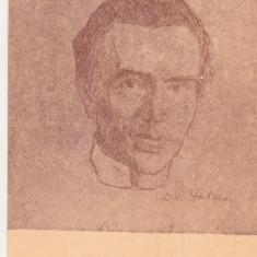 bnk cp Dan Hatmanu - Autoportret - carte postala necirculata IP Bacau 1982