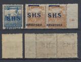 Ungaria Croatia Serbia 1919 lot 3 erori ocupatie 1919 sursarj SHS deplasat MNH, Nestampilat