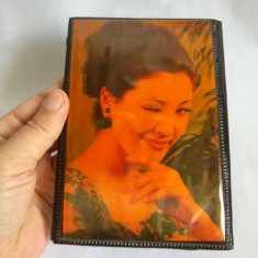 Portmoneu vechi vintage pin-up, dubla imagine, fata, anii 70