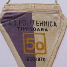 Fanion (vechi) fotbal-CS POLITEHNICA TIMISOARA (aniversare 50 de ani 1920-1970)