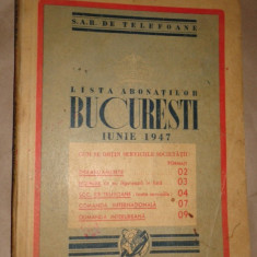 Lista abonatilor SAR de telefoane din Bucuresti an 1947/294paini