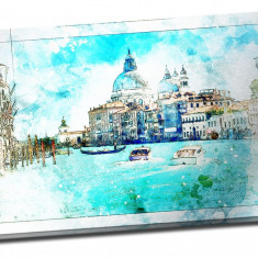 Tablou din aluminiu striat Blue Venice