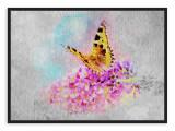 Tablou din aluminiu striat Butterfly of Joy, Black