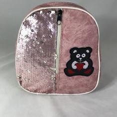 Rucsac roz cu paiete si ursulet+CADOU