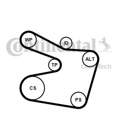 Set curea transmisie cu caneluri BMW Seria 3 Cabriolet (E46) (2000 - 2007) CONTITECH 6PK1538K2 foto