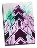 Tablou din aluminiu striat Pink Geometry