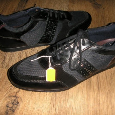 Pantofi barbat TED BAKER originali noi superbi foarte comozi piele+tesut 42/44, Culoare: Negru, Piele naturala, Casual