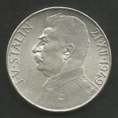 CEHOSLOVACIA 50 KORUN 1949 Aniv 70 Ani J.V. STALIN - in cartonas, a UNC, Europa, Argint