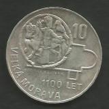 CEHOSLOVACIA  10 KORUN  1966 - 1100 Years of Great Moravia , in cartonas , a UNC, Europa, Argint