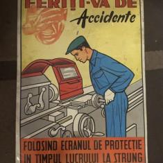 PLACA TABLA INDICATOR,, FERITI-VA DE ACCIDENTE,, VINTAGE COLECTIE TABLOU 1 - Metal/Fonta