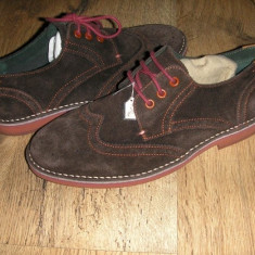 Superbi pantofi oxford barbat TED BAKER originali noi piele intoarsa maro 41 - Pantofi barbat Ted Baker, Eleganti