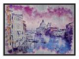 Tablou din aluminiu striat Pink Is the Sky Over Venice, Black