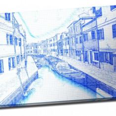 Tablou din aluminiu striat Blue Corner of Venice